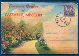 Cassville Missouri mo linen souvenir roaring river state park postcard folder