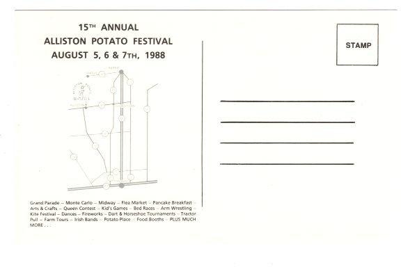 Alliston Potato Festival 1988, Map on  Back, Ontario