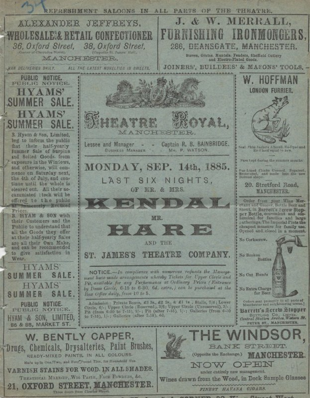 Ironmaster Scrap Of Paper Manchester 1885 Victorian Theatre Programme