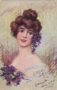 Gross Violets Beautiful Lady With Violets 1907