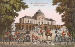 Emil Rotch.Schloss Solitue. Horses. Before the Hunting Fine paintong, antique