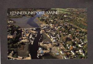 ME Aerial View Kennebunkport Maine Harbor Boats Houses Postcard PC Carte Postale