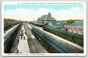 Pueblo Colorado~Union Railroad Passenger Depot~Three Sets of Tracks~1920s PC