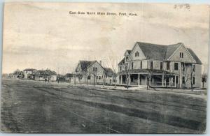 Pratt, Kansas Postcard East Side, North Main Street Houses - 1911 Cancel