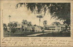 Paramaribo Suriname Gouvernementsplein c1905 USED Postcard