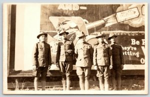 WWI Real Photo Postcard~Soldiers @ Wrigley's Billboard~Gum Shot From Cannon~1918