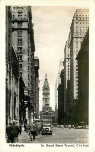 Autos 1930s South Broad Street Philadelphia Pennsylvania City Hall RPPC 761