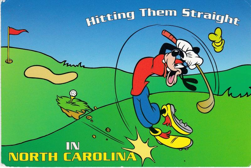 Post Card Advertising Golf theme Hitting Them Straight in NORTH CAROLINA