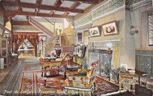 HOLLYWOOD CA~ARTIST PAUL de LONGRE-RECEPTION ROOM AT HOME-RIEDER POSTCARD 1900s