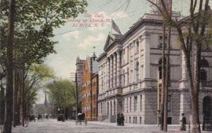 ELMIRA, New York, PU-1909; City Hall, looking up Church Street