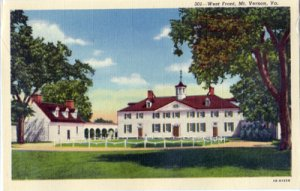Mt Vernon VA - home of George Washington from the West Front, 1940s