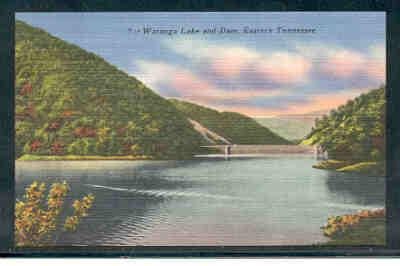 Tennessee colour PC Watauga Lake and Dam, Eastern Tennessee  unused