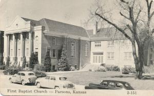 First Baptist Church in Parsons KS, Kansas - pm 1961