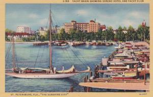 Florida St Petersburg Yacht Basin Showing Soreno Hotel & Yacht Club 1951 Curt...