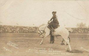 RP: FEMALE RODEO ; NETTIE HAWN, Bucking Horse Rider, WALLA WALLA, 1913