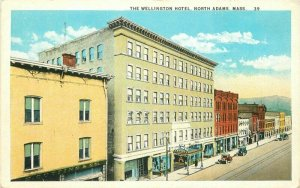 Automobiles Wellington Hotel North Adams Massachusetts 1920s Postcard 13111