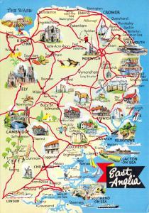 Tourism Travel UK England Map Postcard East Anglia by ETW Dennis & Sons Ltd 58D