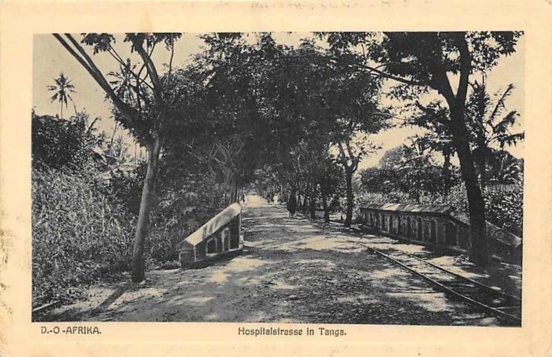 German East Africa Tanzania D.O. Afrika - Hospitalstrasse in Tanga, Postcard