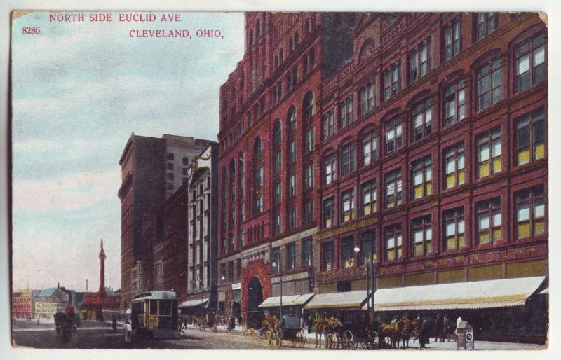 P930 old card north side euclid ave cleveland ohio horses wagons etc