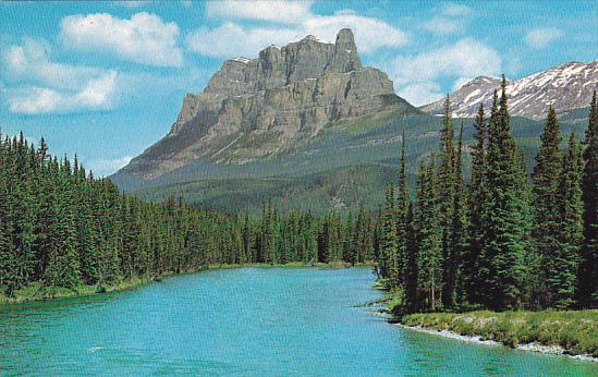 Canada Alberta Banff Mount Eisenhower And The Bow River From The Trans Canada...