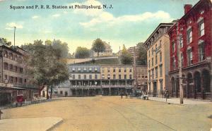 Phillipsburg NJ Railroad Station Train Depot Square Postcard