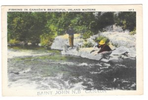 Fishing in Canada Beautiful Inland Waters St John NB Vintage Postcard