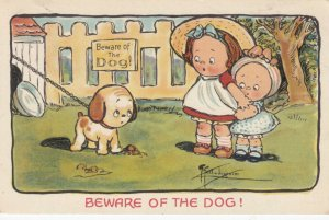 Grace DRAYTON-WIEDERSEIM, PU-1911; Puppy on Chain, Beware of Dog! Sign