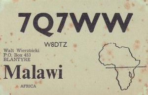 Malawi Africa 1960s Vintage Map QSL Radio Card