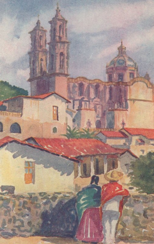 Taxco Mexico Antique Painting Postcard