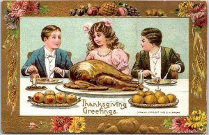 1910s THANKSGIVING GREETINGS Embossed Postcard Kids / Dinner Table B. HOFFMANN