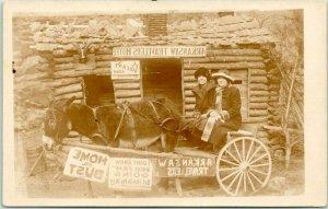 Hot Springs, Arkansas RPPC Studio Photo Postcard 2 Ladies in Donkey Cart c1930s