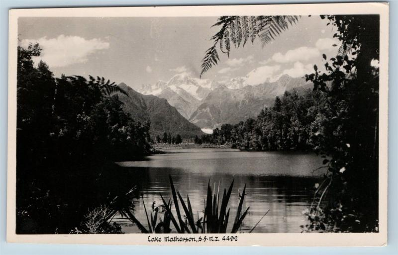 Postcard New Zealand South Westland Lake Matheson Mount Tasman RPPC Photo K19