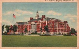Indianapolis, IN, U.S. Veterans Hospital, 1946 Linen Vintage Postcard h2867