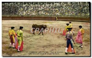 Old Postcard Bullfight Bullfight Toro y bullfighters The bull comes out of th...