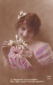 1900-1910's; Woman Holding Flowers