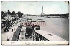 Old Postcard Paris Seine at Bridge Day Boat Tour Eiffel