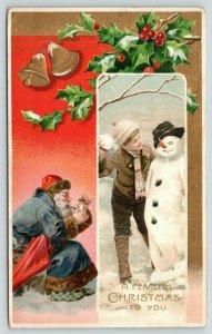 Victorian Christmas~Old Style Santa Smokes Pipe~Checkered Slippers~Boy & Snowman