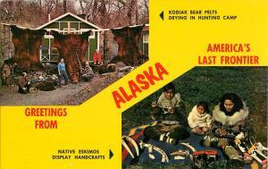 Hunters Sportsmen Kodiak Bear Pelt Alf Madsen Uganik Camp Eskimo Family Postcard