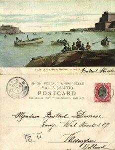 malta, VALLETTA, Mouth of the Grand Harbour (1906) Postcard