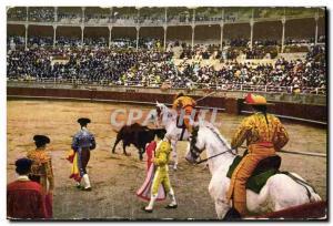 Old Postcard Bullfight Bullfight Suerte de vara