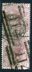 509551 Great Britain 1876 year Queen Victoria 21/2p pair used