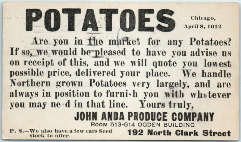 1912 Chicago Advertising Postcard JOHN ANDA PRODUCE CO Potatoes 192 N Clark St