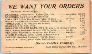 1899 Chicago Advertising Postcard Steel-Wedeles Company Canned Goods Price List