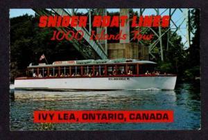 Snider Boat Lines Islands Tour IVY LEA ONTARIO Postcard