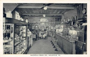 LP77 Drug Store Hillsville Virginia Postcard Nuckolls Drug Co Pharmacy interior