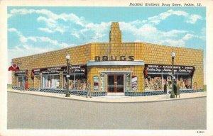 Pekin Illinois Hackler Bros Drug Store Vintage Postcard AA10981