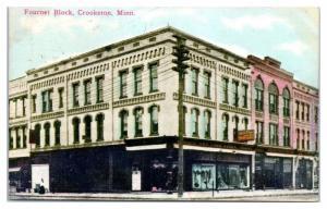 1913 Fournet Block, Crookston, MN Postcard w/ RPO Cancellation