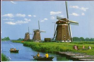 Three Windmills, People in Boats, Leidschendam, Netherlands