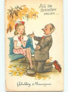 Unused Pre-Chrome new year foreign OLD MAN WANTS PRETTY YOUNG GIRL J4321
