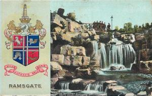 Ramsgate England~Coat of Arms~Waterfall & Grotto Walk~Folks on Bridge~1906 PC